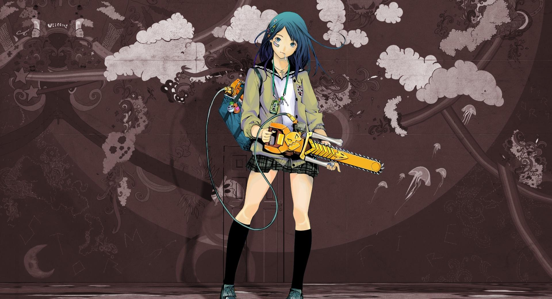 Anime Girl With Chainsaw wallpapers HD quality