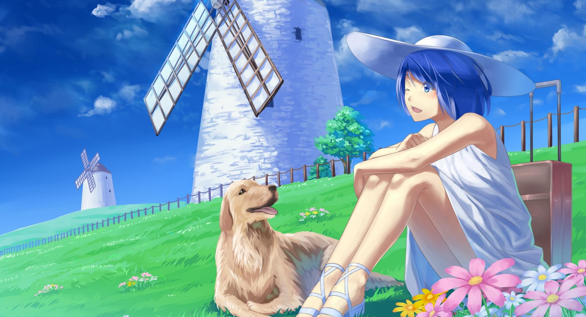 Anime Girl With Her Pet Dog wallpapers HD quality