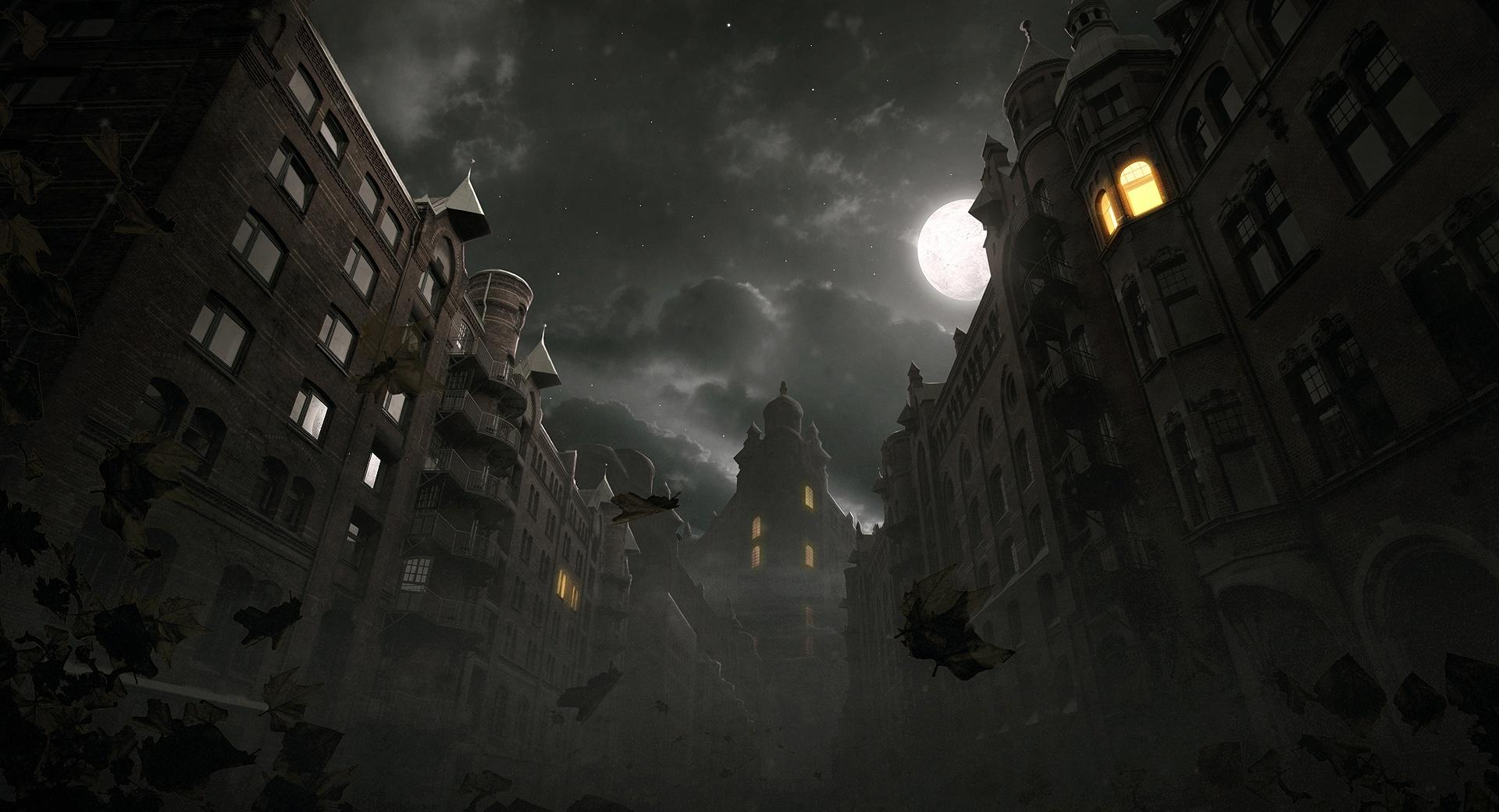 Dark City Autumn Scene wallpapers HD quality