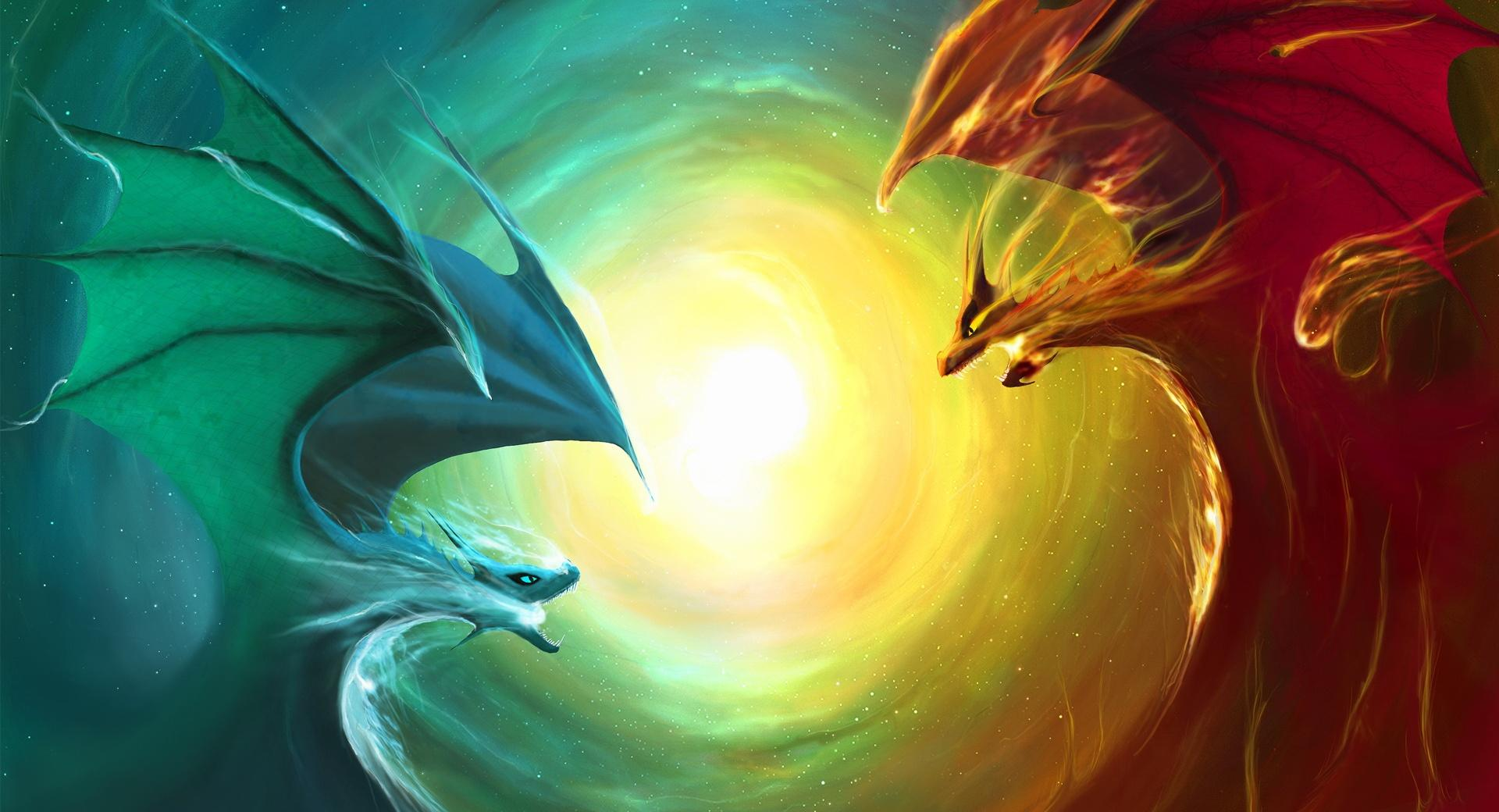 Fire Dragon Vs Water Dragon wallpapers HD quality