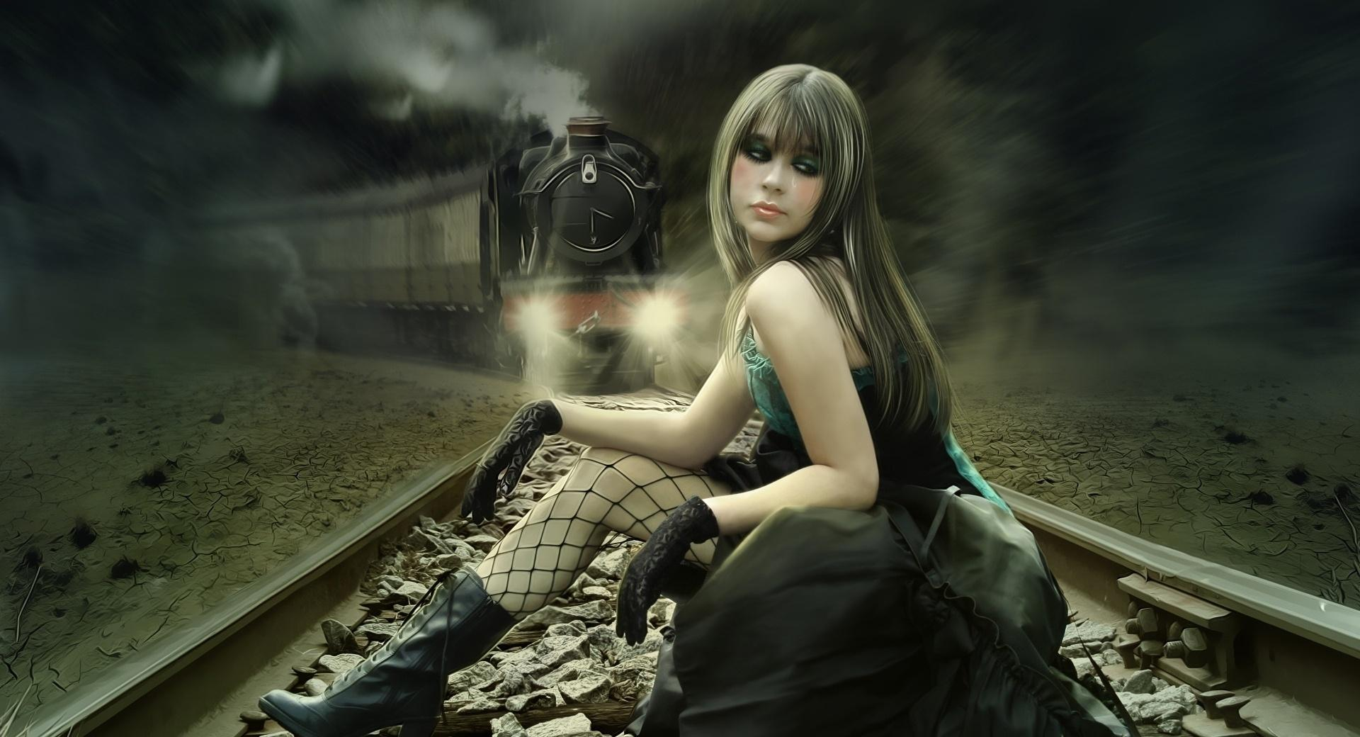 Girl On Rail Tracks Painting wallpapers HD quality