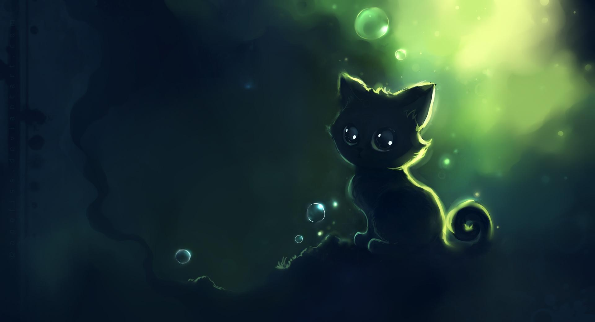 Lonely Black Kitty Painting wallpapers HD quality