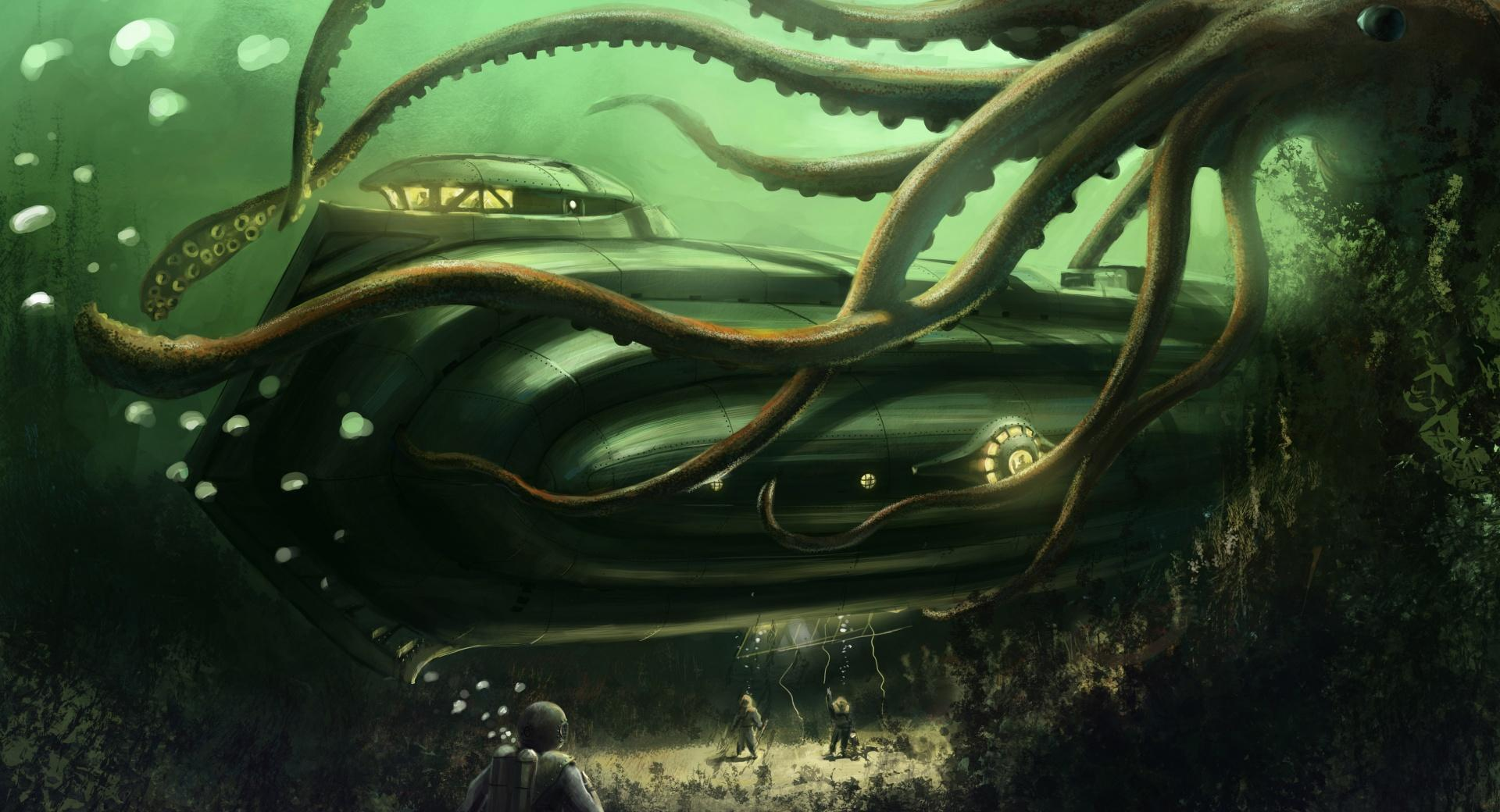 Submarine Underwater Painting wallpapers HD quality