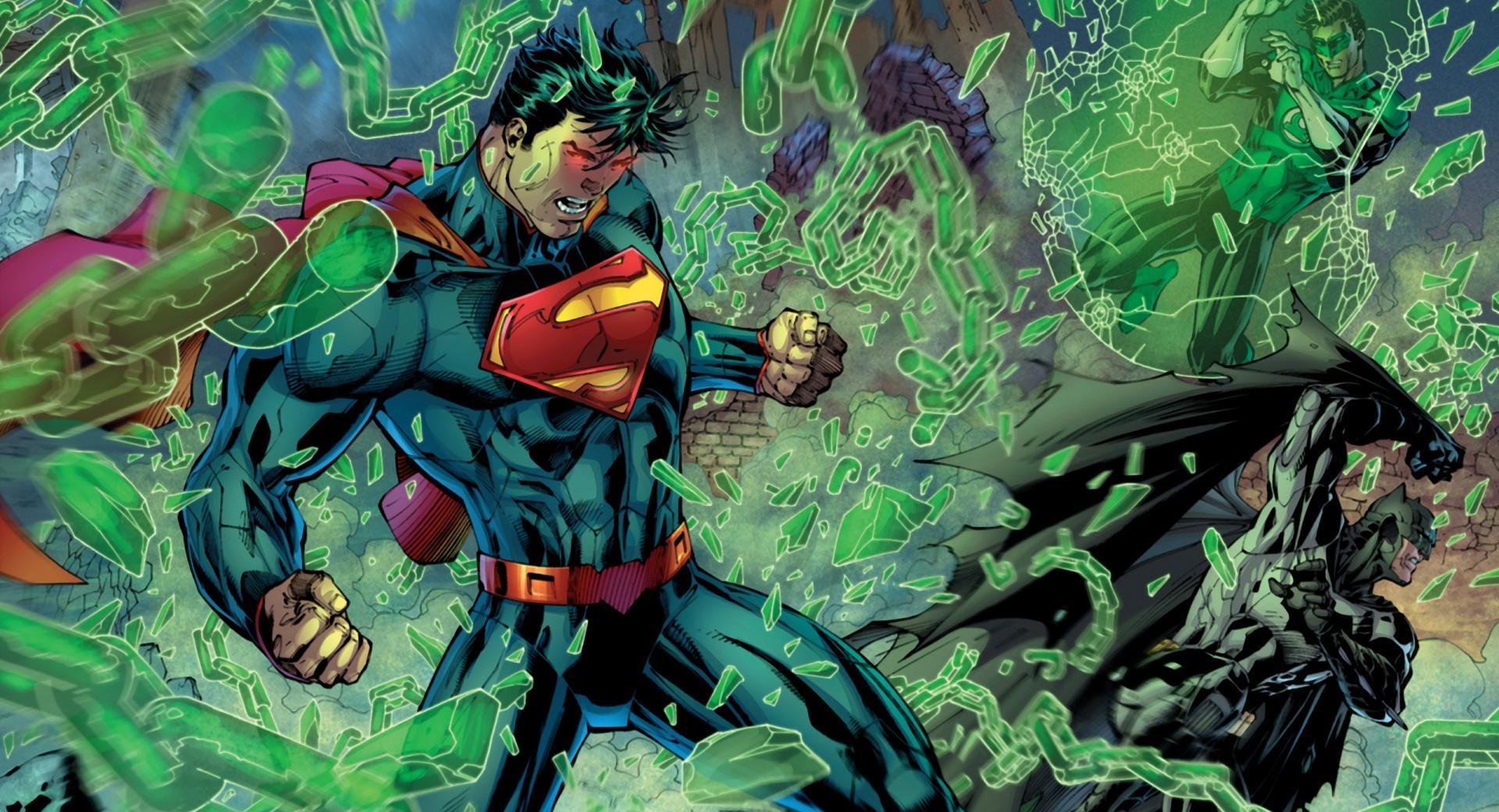 Superman, Batman, Green Lantern fight wallpapers HD quality