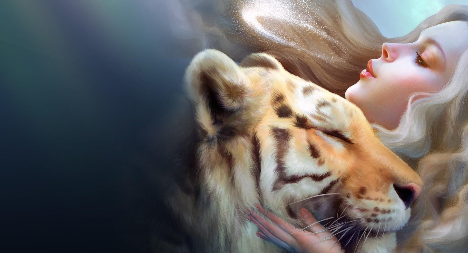 Tiger And Girl wallpapers HD quality