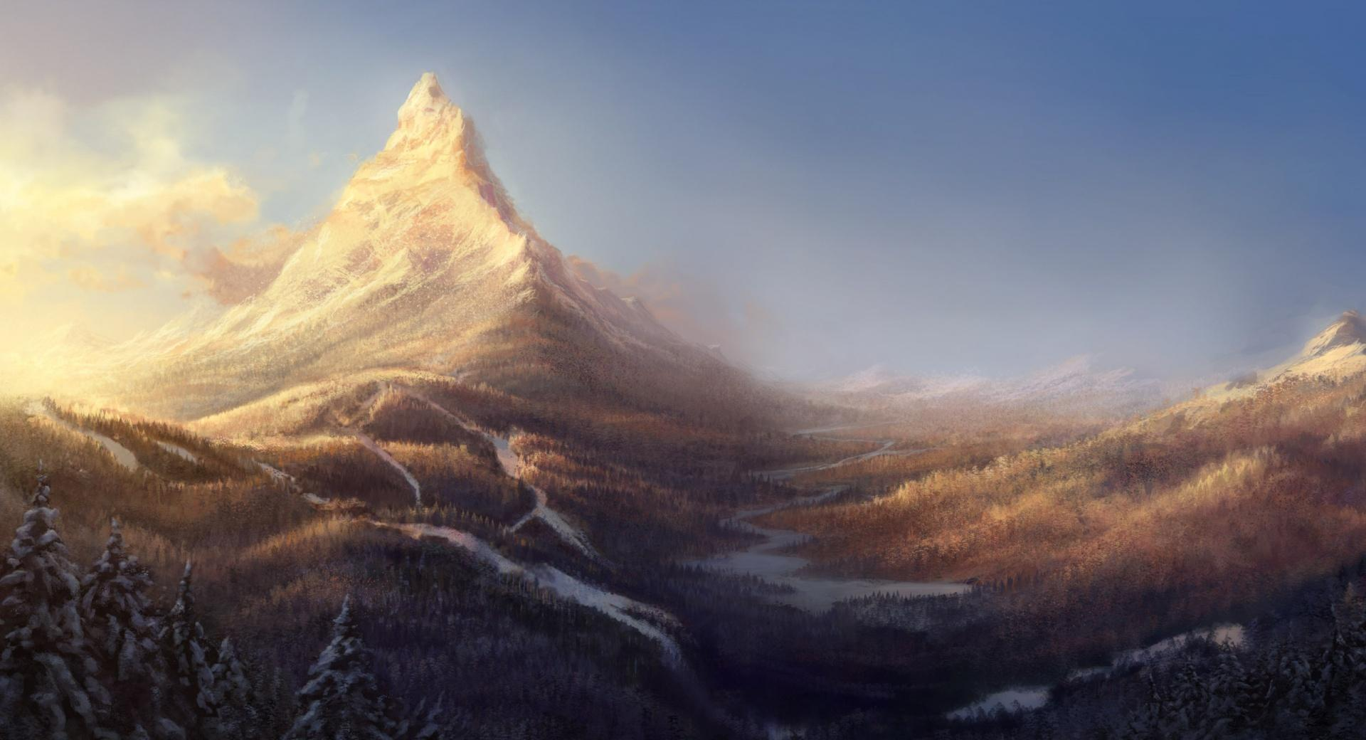 Winter Mountain Painting wallpapers HD quality