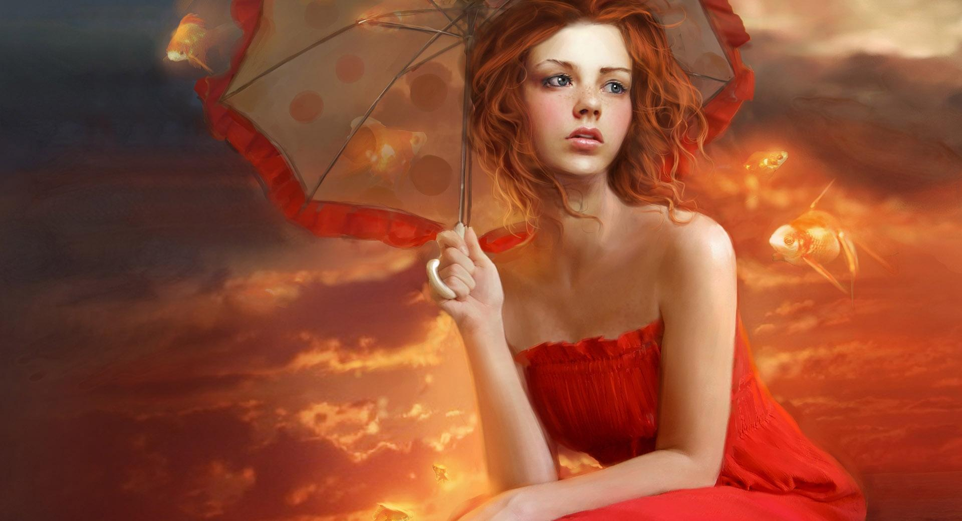 Woman In Red Dress Painting wallpapers HD quality