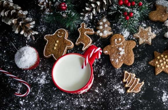 Christmas Gingerbread Cookies and Milk