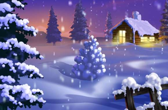 Classic Winter Scene Painting wallpapers hd quality