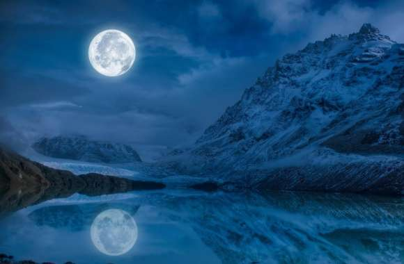 Full Moon Reflection Water