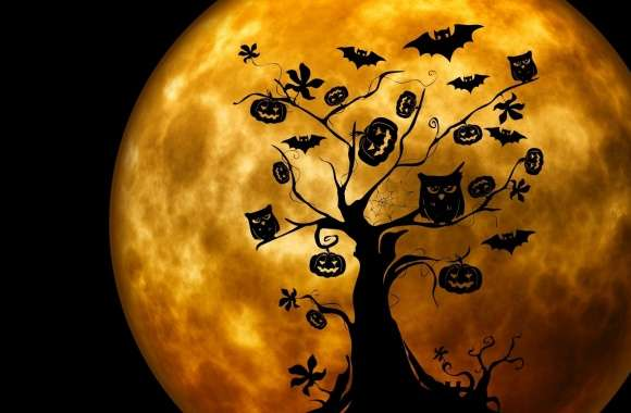 Halloween Owls and Bats Orange wallpapers hd quality