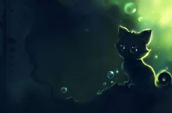 Lonely Black Kitty Painting