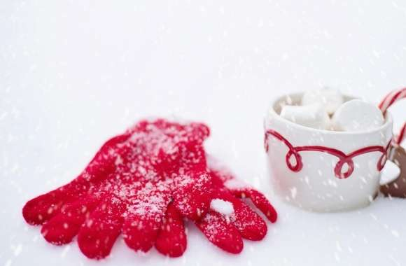 Red Gloves, Hot Chocolate Cup, Snow, Winter