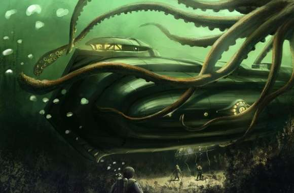 Submarine Underwater Painting