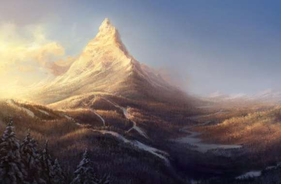 Winter Mountain Painting