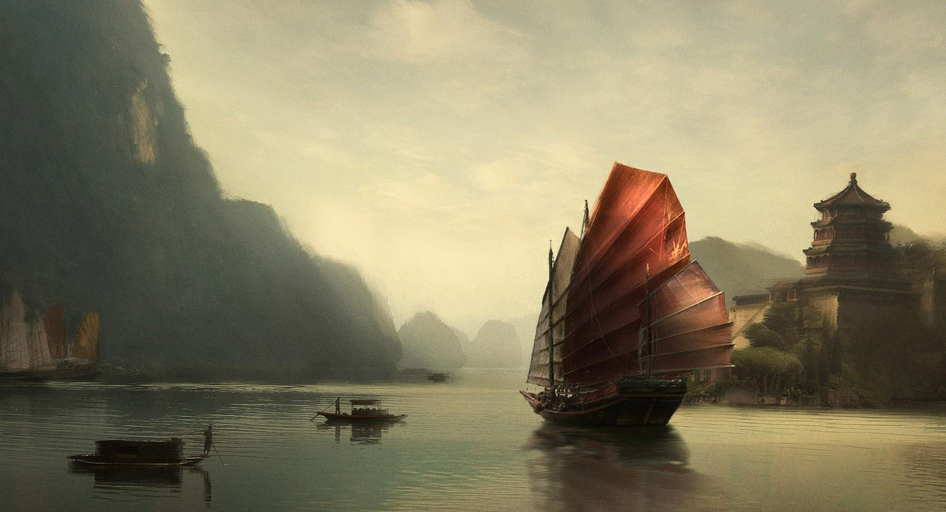 Junk Ship Chinese Painting wallpapers HD quality