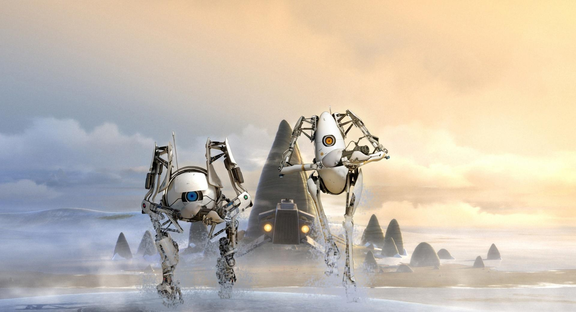 Portal 2 Robots Atlas and P-Body wallpapers HD quality