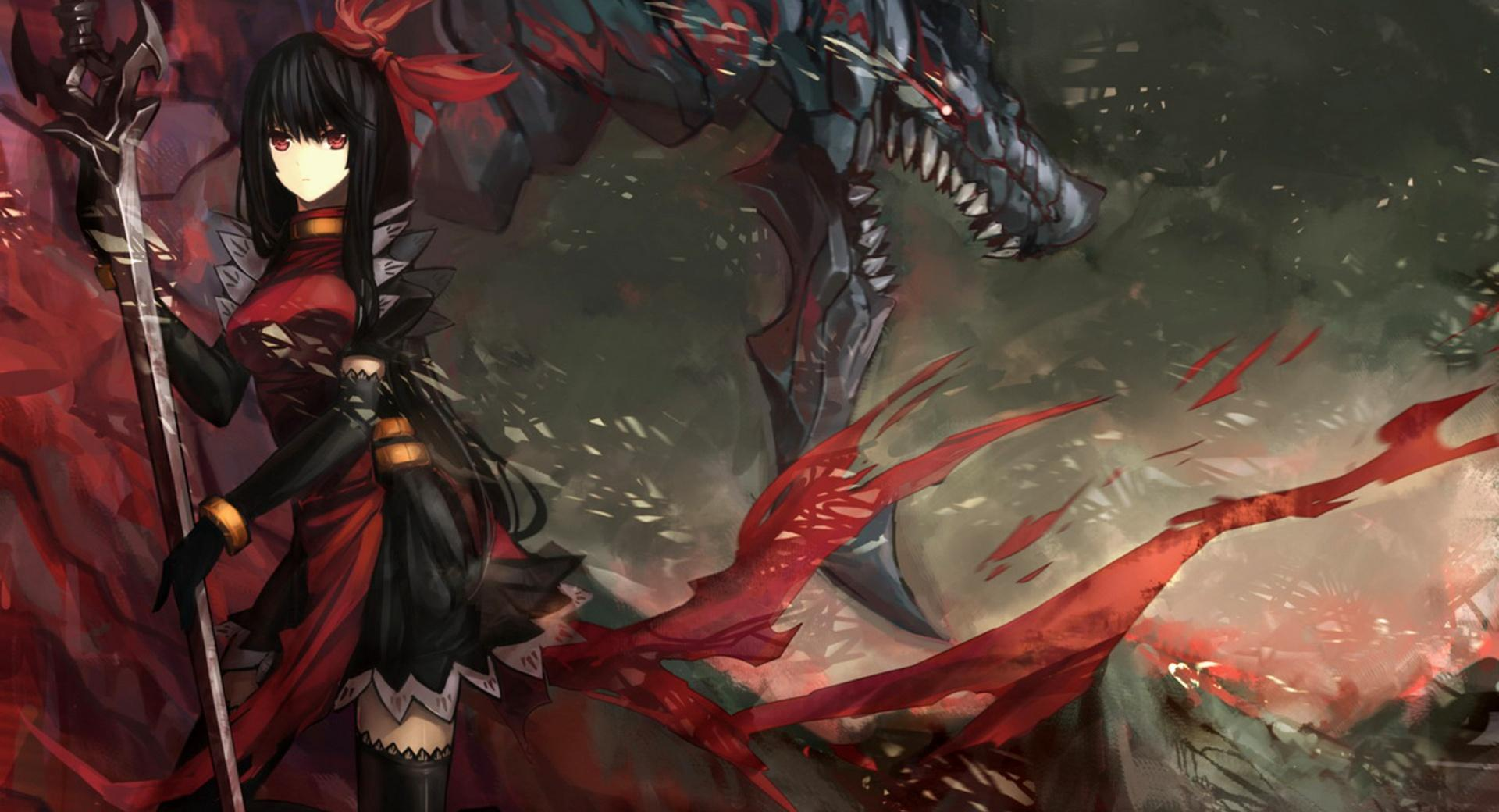 Warrior Fighting A Dragon wallpapers HD quality