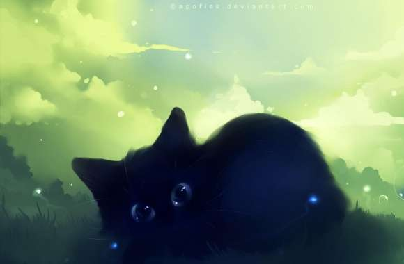 Dreamy Black Kitty Painting