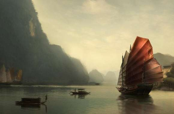 Junk Ship Chinese Painting