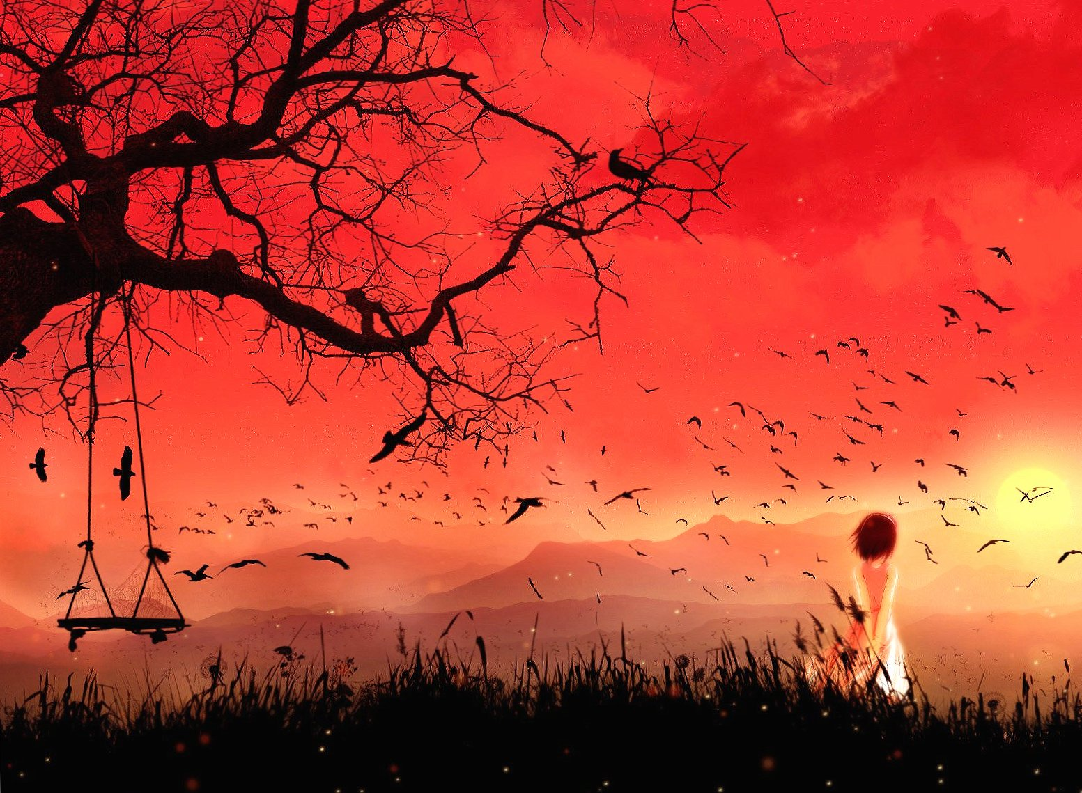 Alone children and birds fantasy wallpapers HD quality