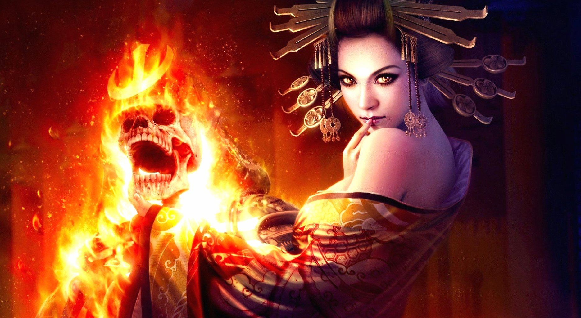 Amletic girl fire and fantasy wallpapers HD quality