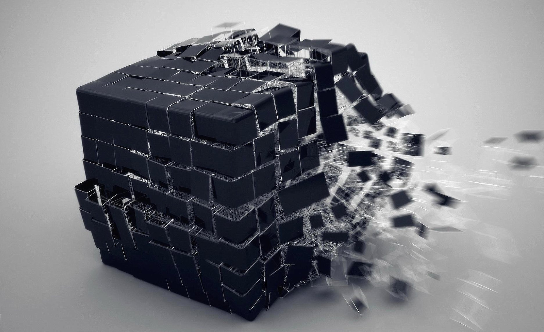 Black cube explosion 3d at 1600 x 1200 size wallpapers HD quality