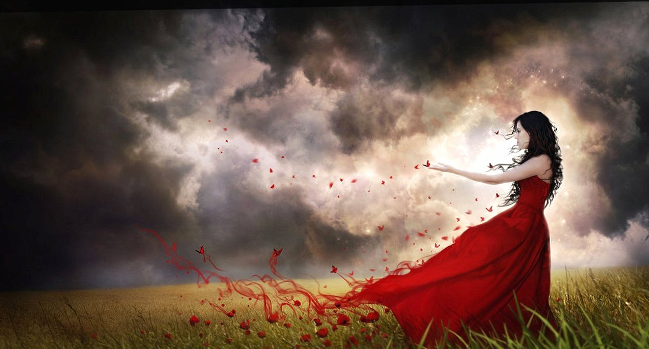 Butterflies red and woman wallpapers HD quality