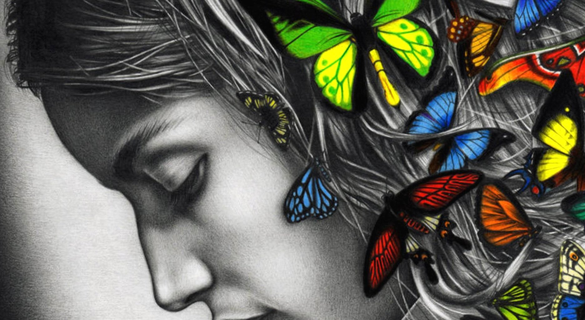 Butterfly woman colour digital art wallpapers HD quality