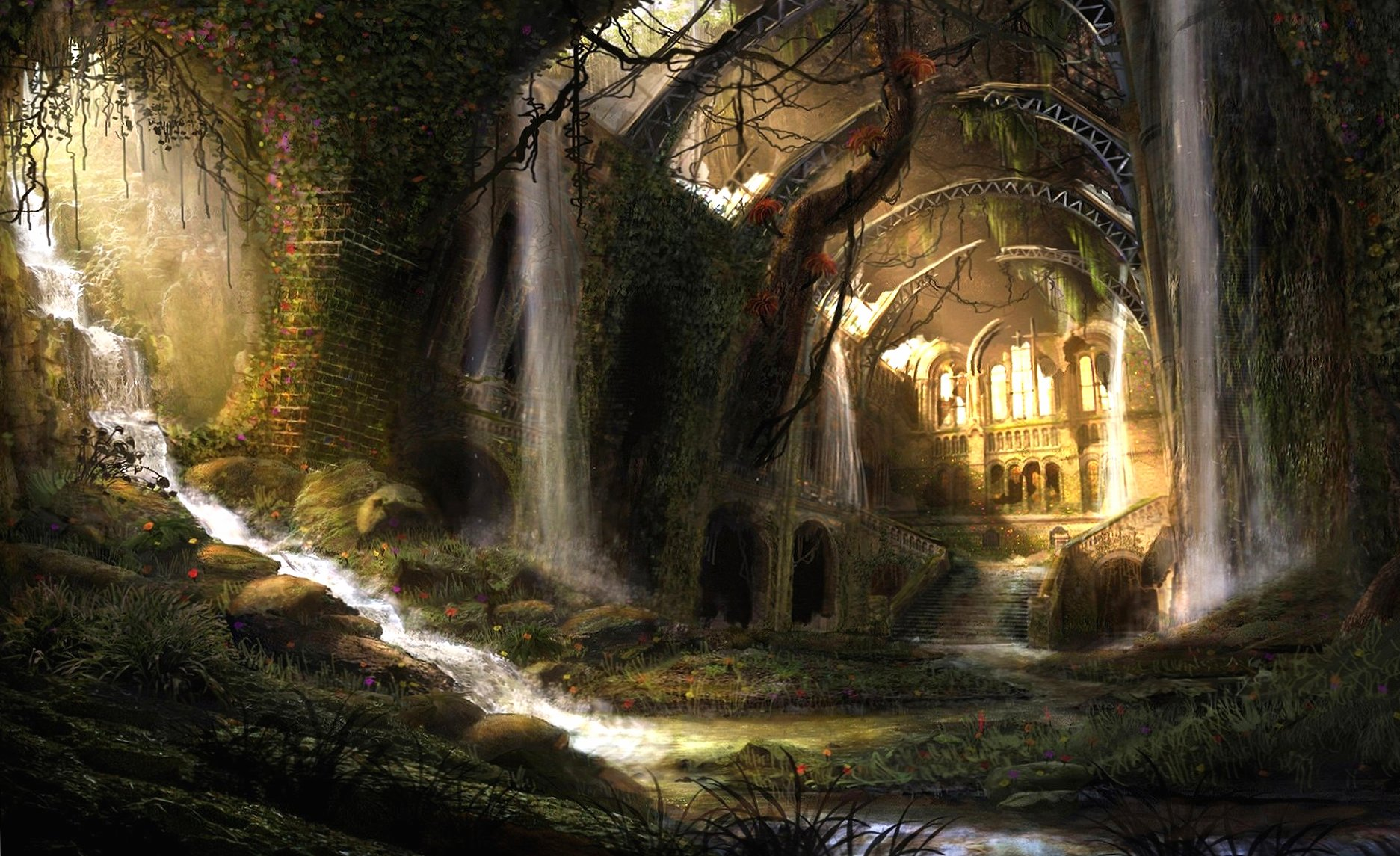 Castle ruine fantasy landscape wallpapers HD quality