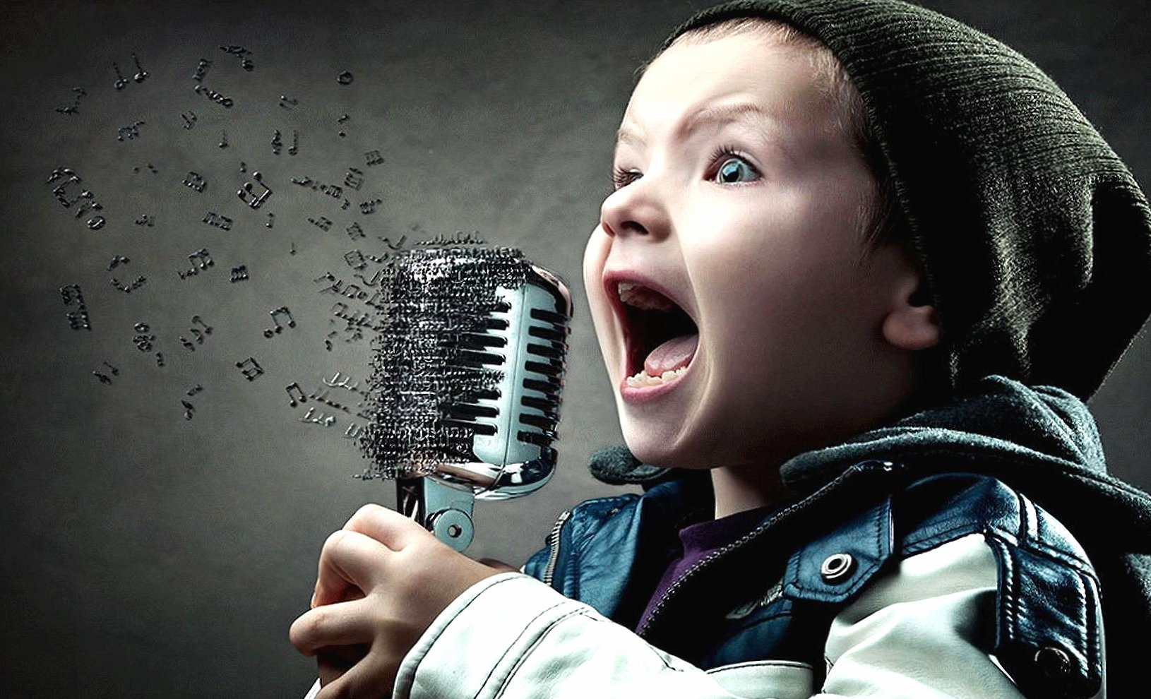 Child singer notes music digital art wallpapers HD quality