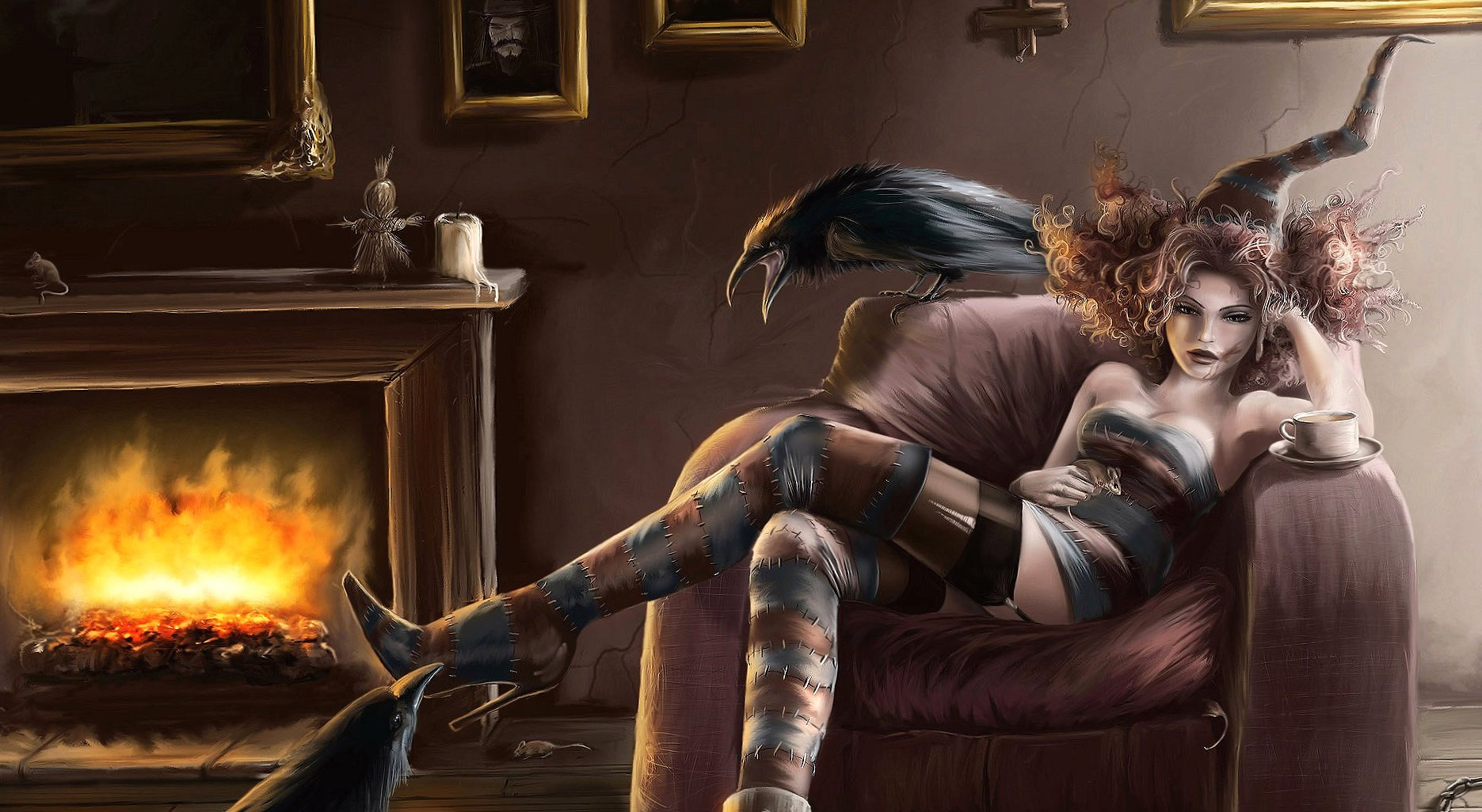 Crow fire coffe and girl fantasy wallpapers HD quality