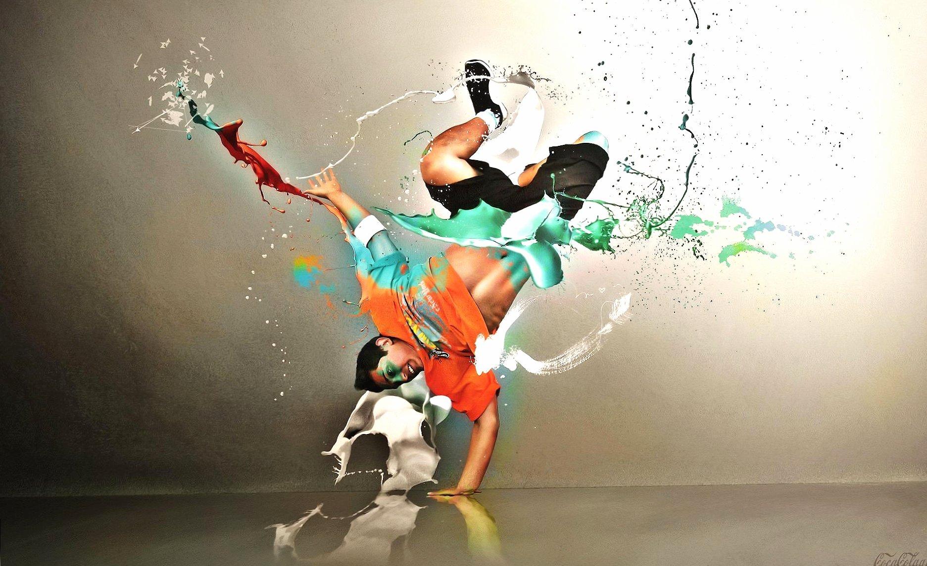 Dancer colour green orange digital art wallpapers HD quality