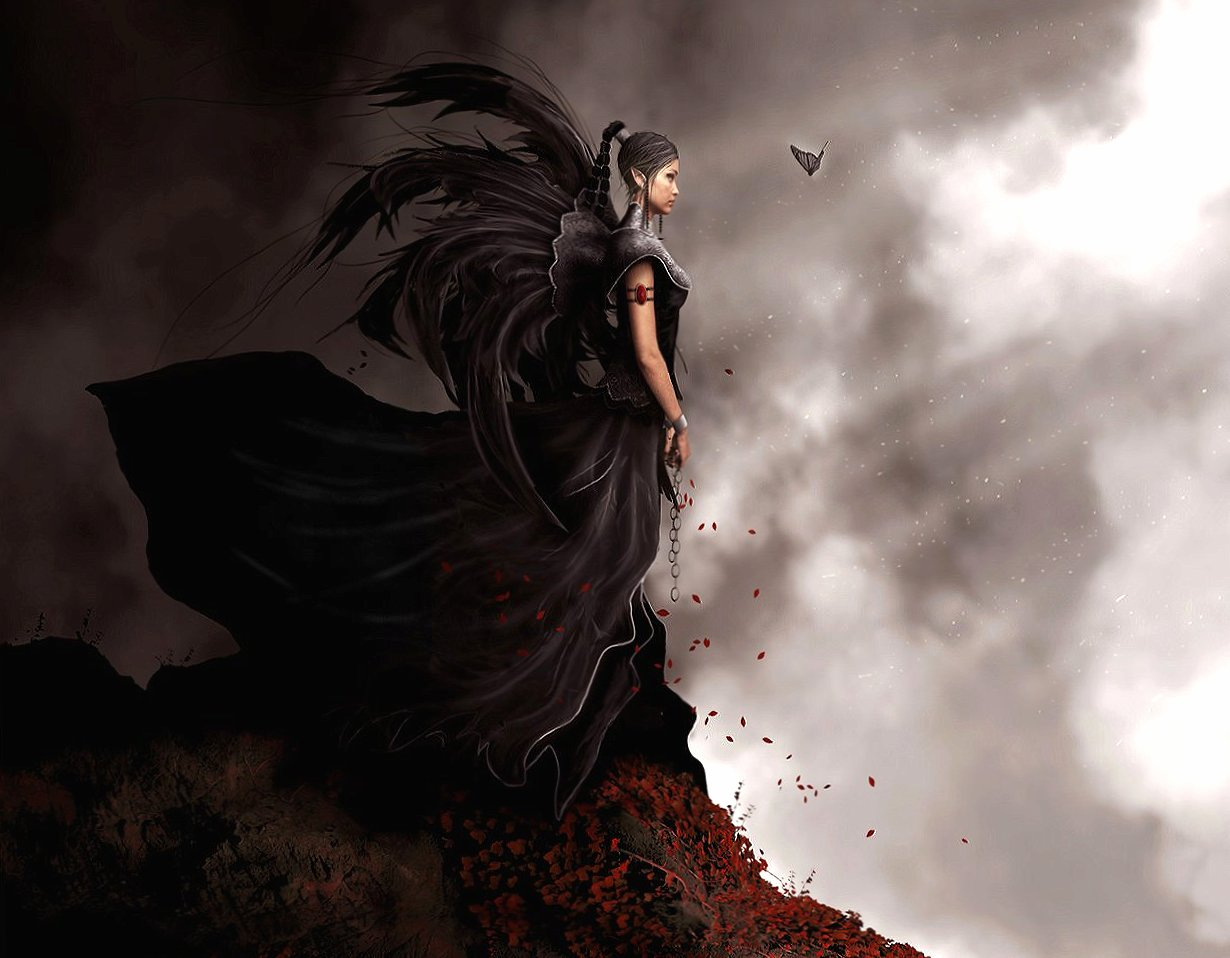 Dark girl and butterfly wallpapers HD quality