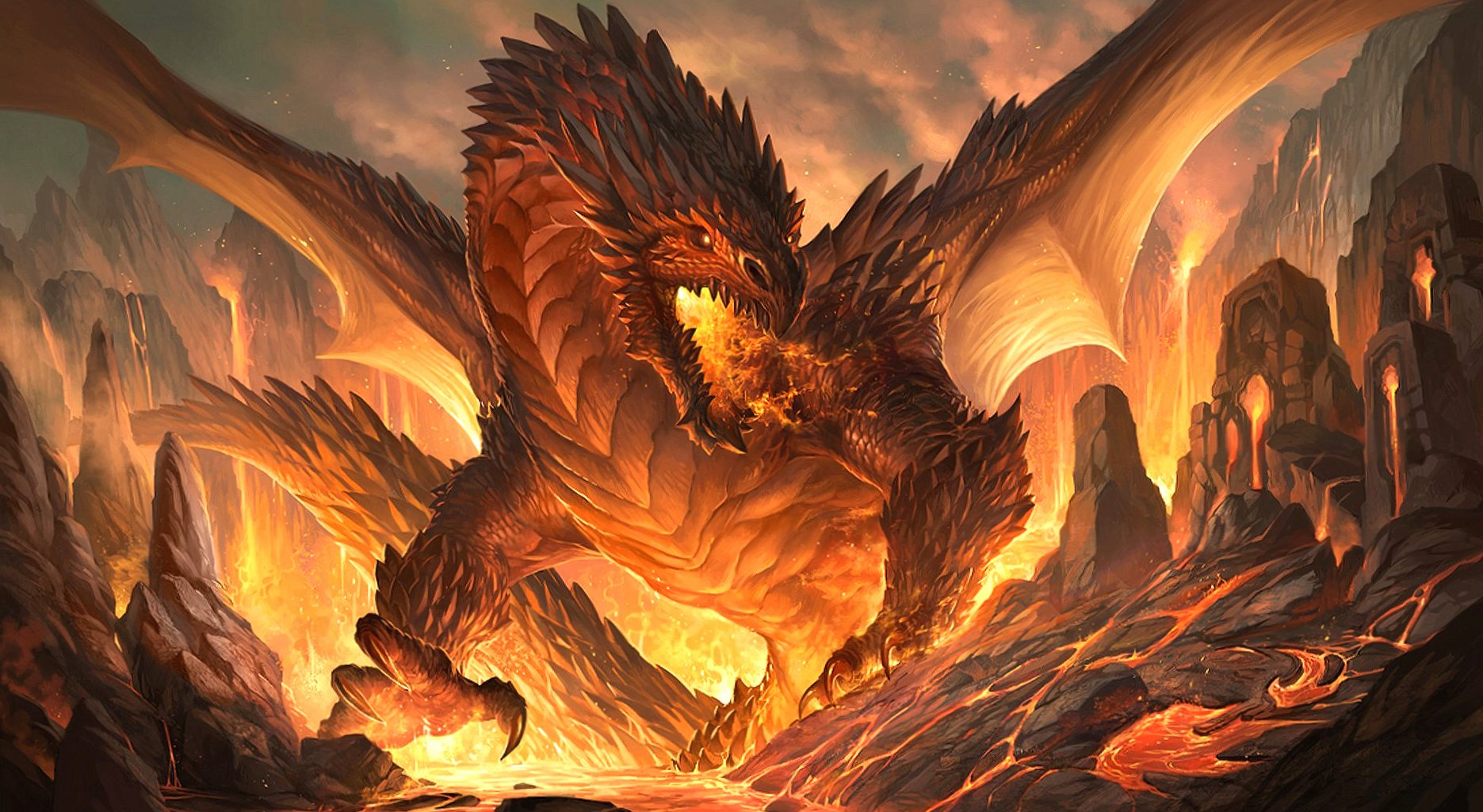 Fire dragon at 640 x 1136 iPhone 5 size wallpapers HD quality