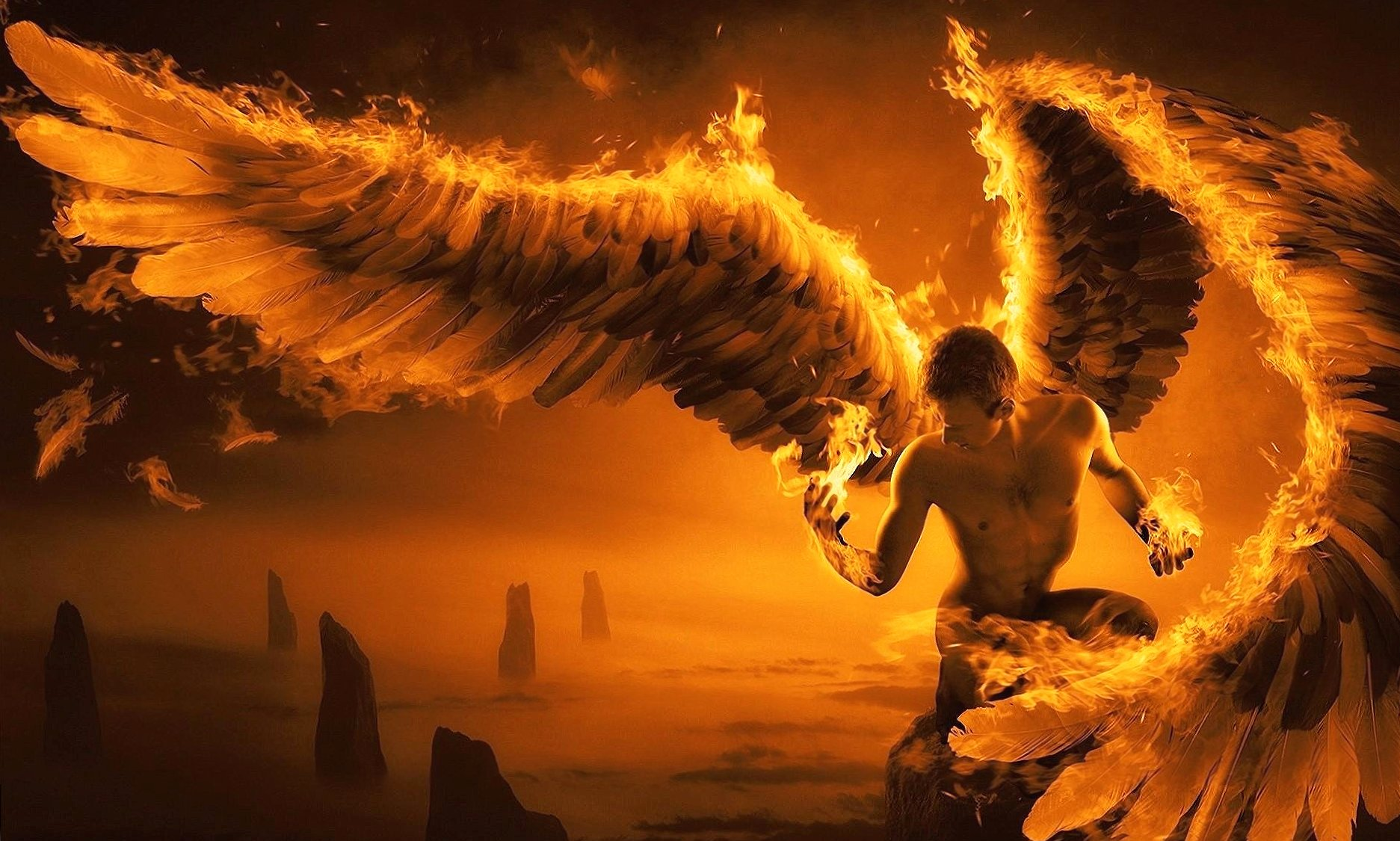 Fired angel man wallpapers HD quality