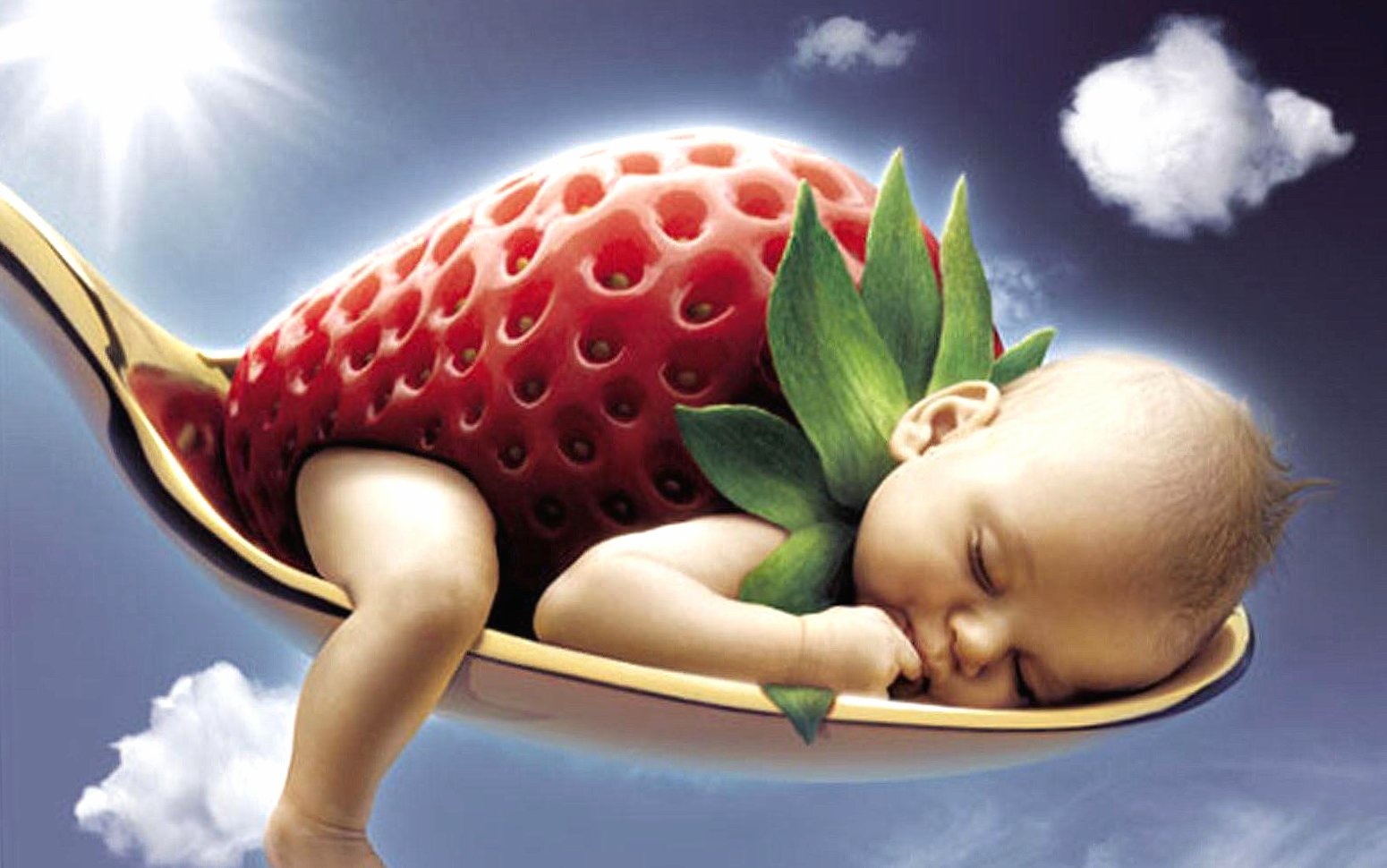 funny baby strawberry wallpapers HD quality