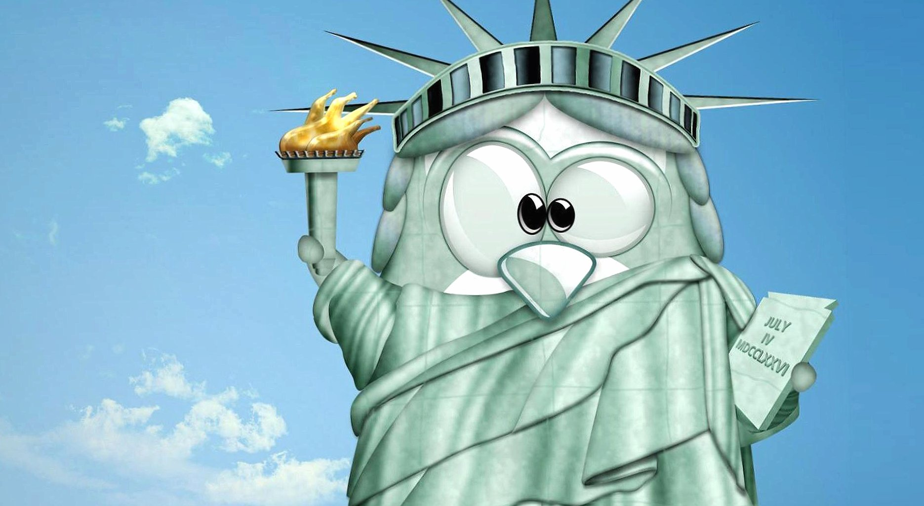 Funny bird statue of liberty at 1280 x 960 size wallpapers HD quality