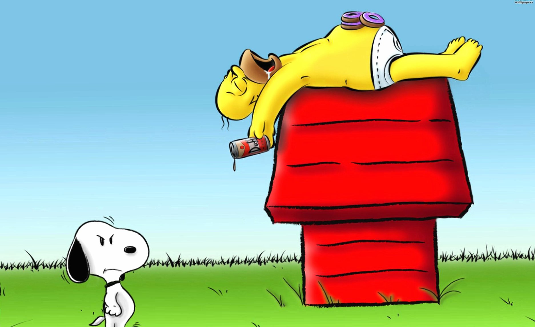 Funny snoopy and homer simpson wallpapers HD quality