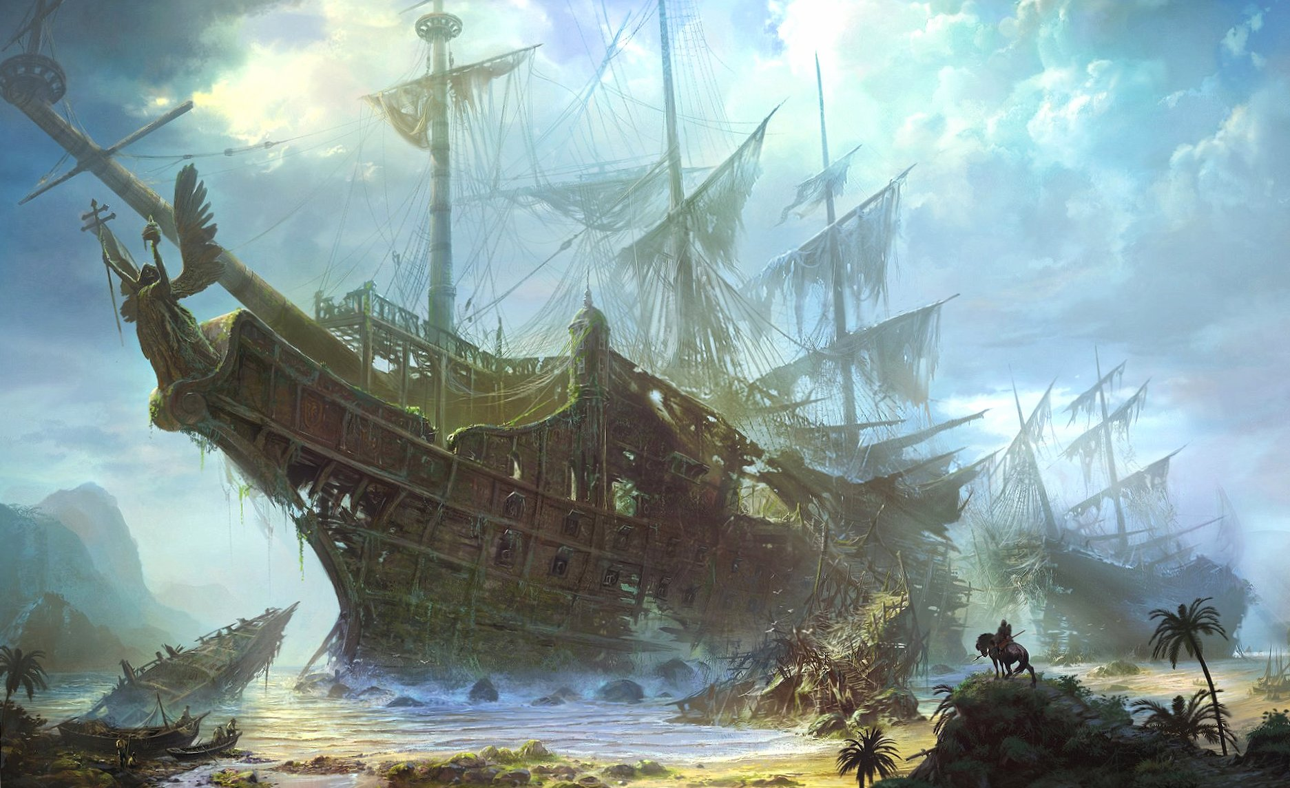 Ghost ship at 640 x 1136 iPhone 5 size wallpapers HD quality