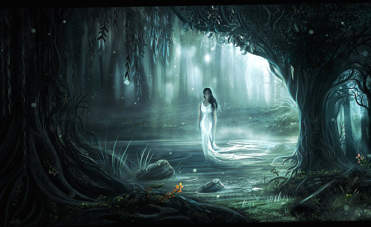 Ghost woman in a forest wallpapers HD quality