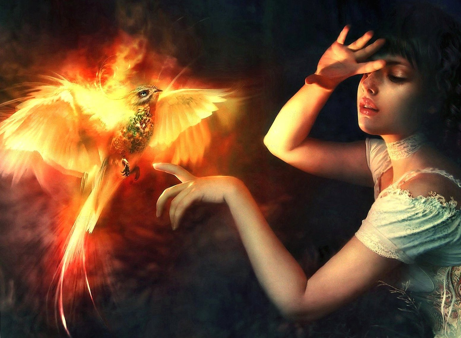 Girl and phoenix wallpapers HD quality