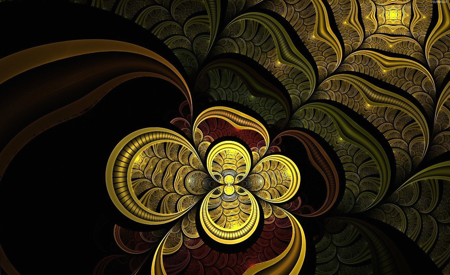 Golden flower glowing inside the swirl wallpapers HD quality