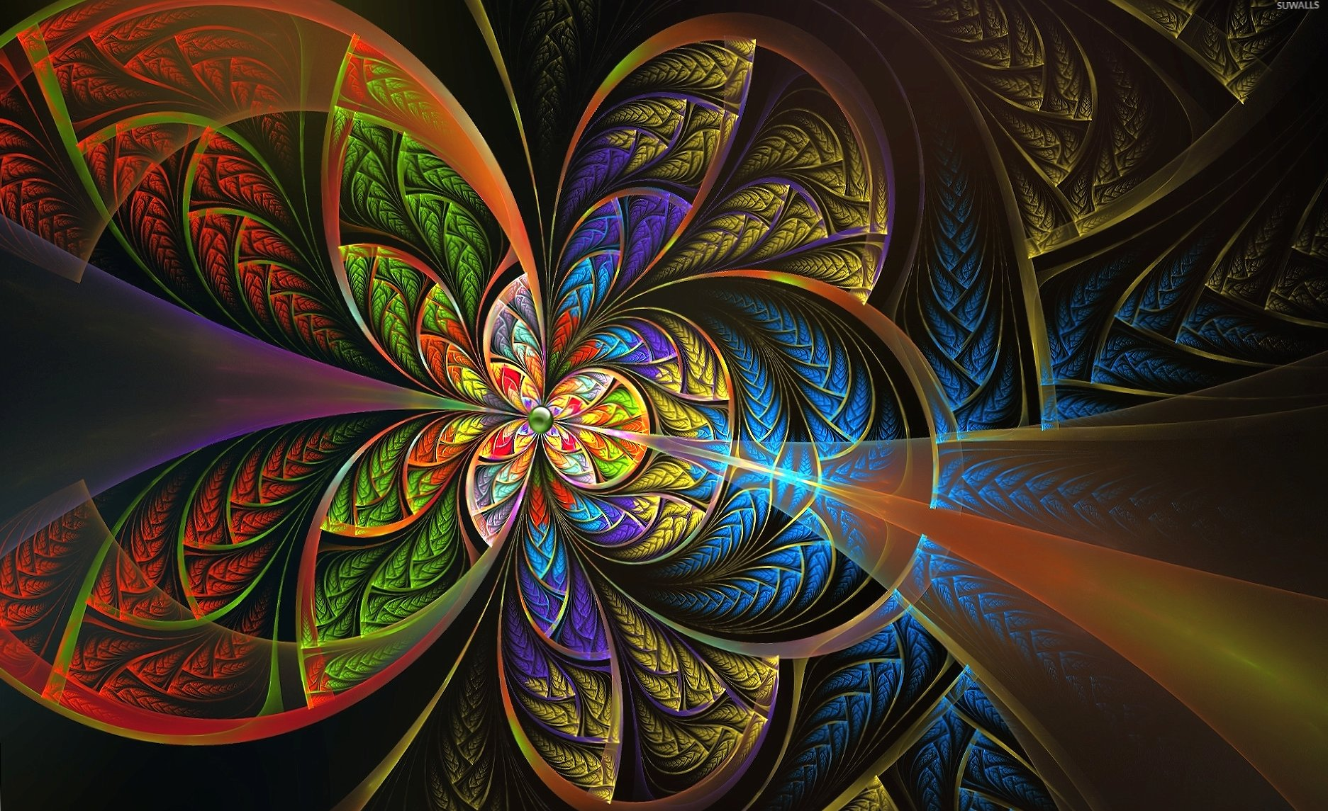 Green bean in the center of the fractal flower wallpapers HD quality