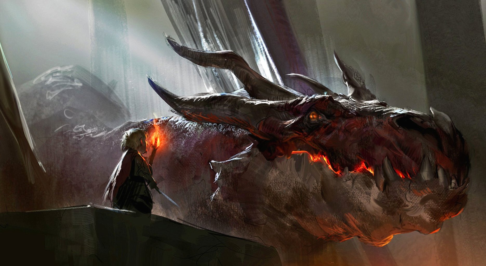 Huge dragon and warrior wallpapers HD quality