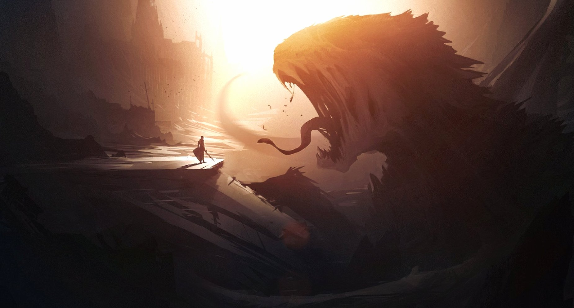 Man and giant creature wallpapers HD quality