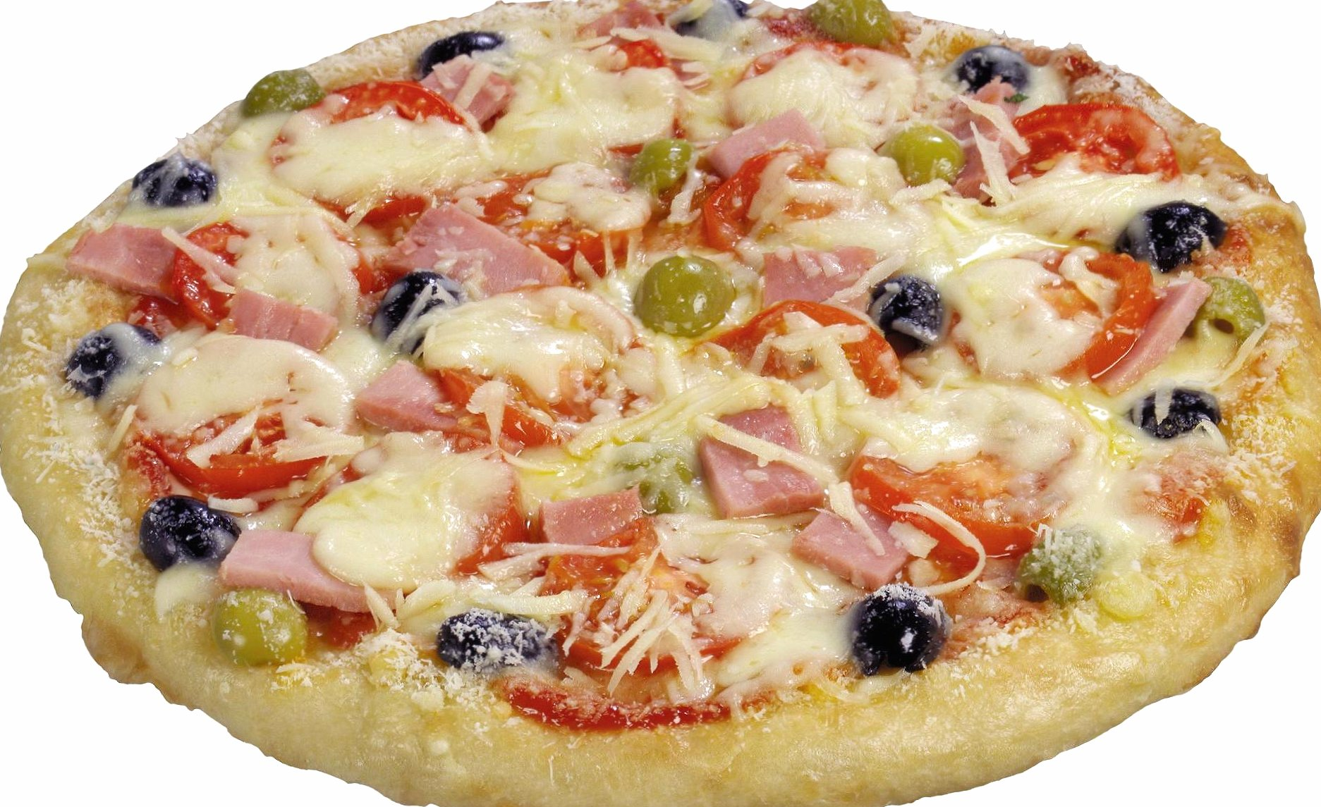Pizza with ham olives and tomatoes wallpapers HD quality