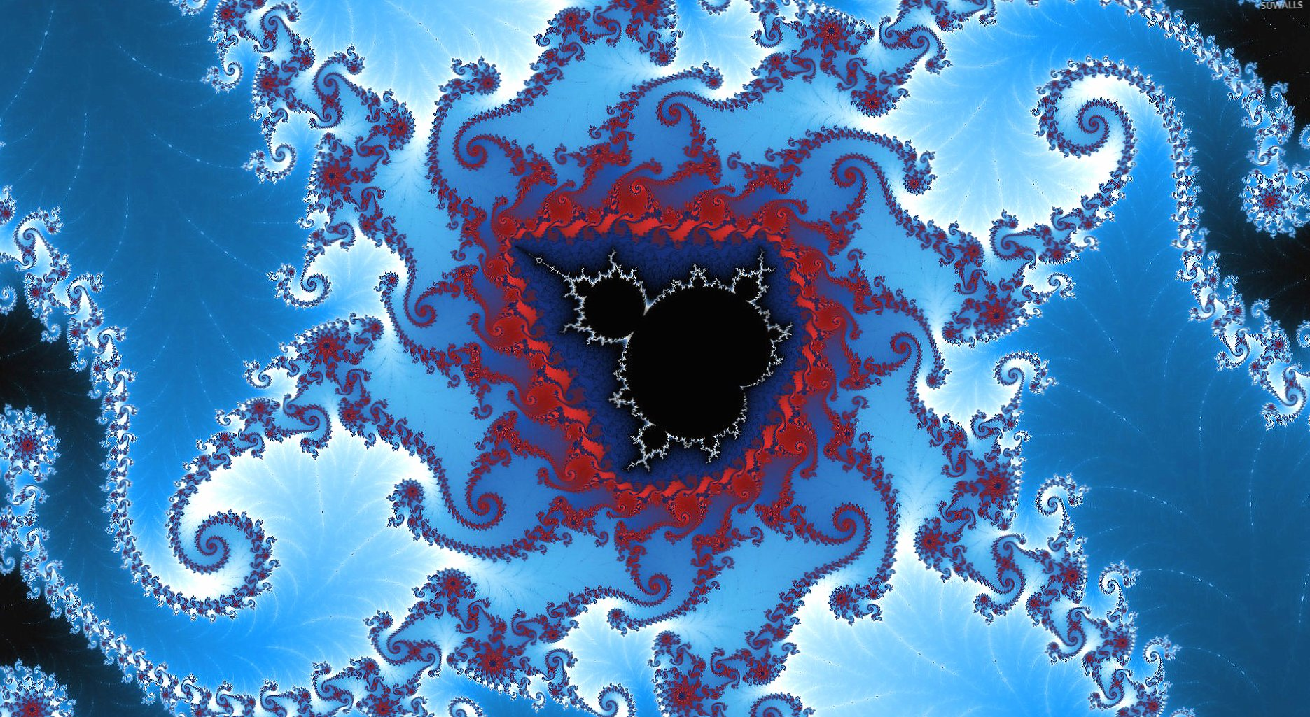 Red and blue fractal shapes wallpapers HD quality