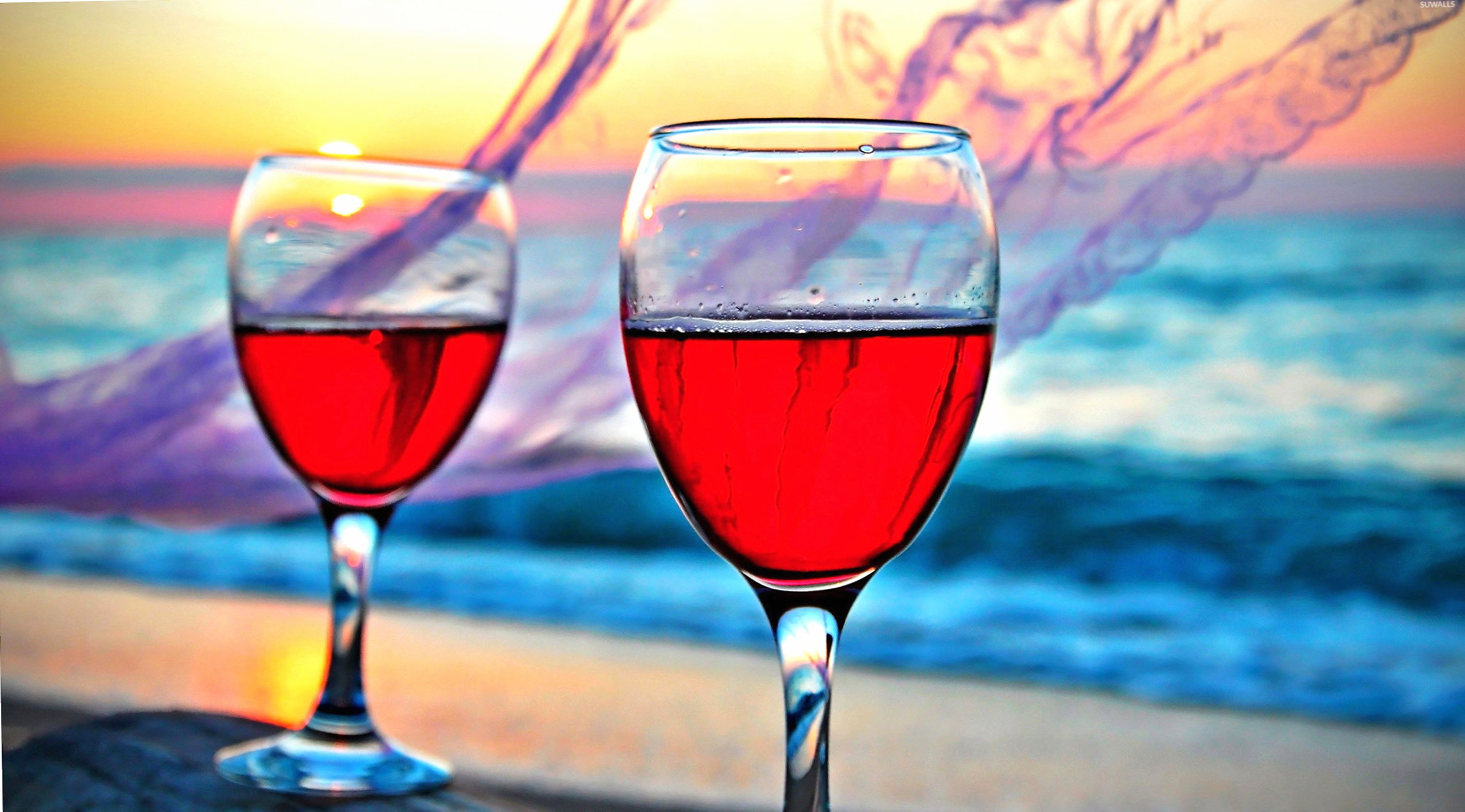 Rose wine in the glasses wallpapers HD quality