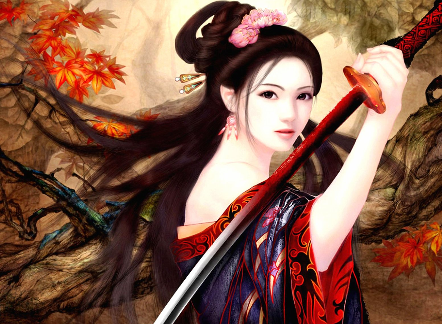 Samurai girl at 1152 x 864 size wallpapers HD quality